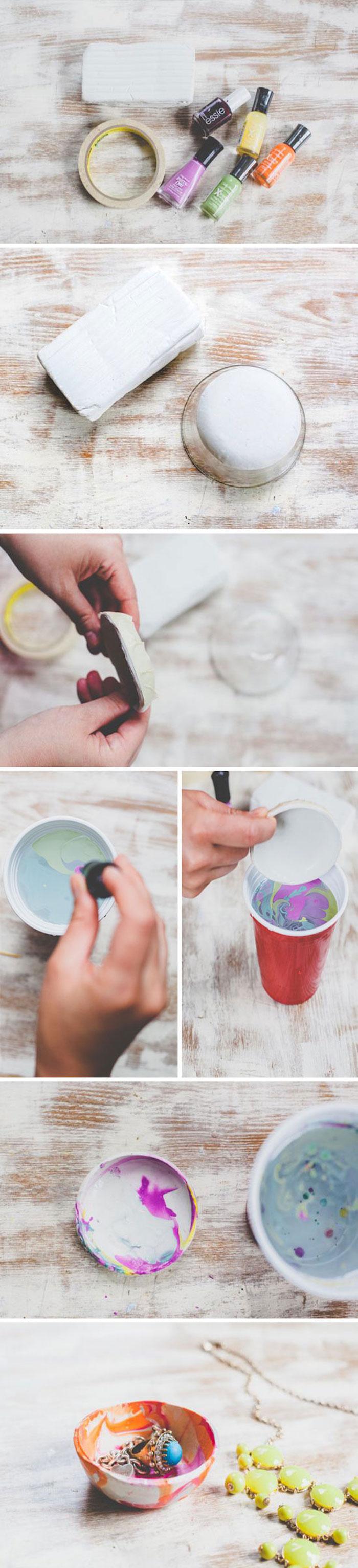 Kleine Schüssel aus Modelliermasse selber machen, mit Nagellack dekorieren, Geschenk zum Selbermachen
