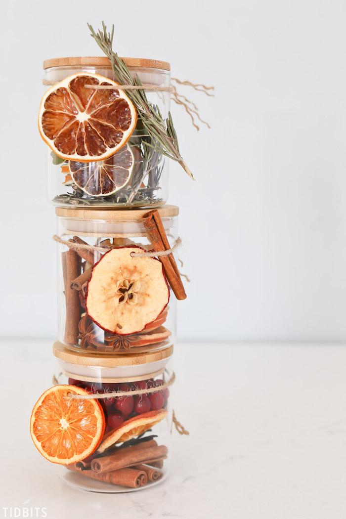 DIY Lufterfrischer, getrocknete Orangen und Apfelscheiben, Beeren und Zimtstangen in kleinen Einmachgläsern