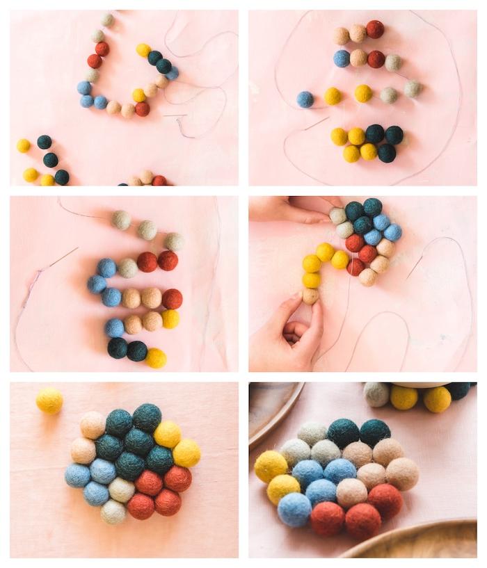Glasuntersetzer selber nähen, aus kleinen bunten Filzkugeln, Anleitung in sechs einfachen Schritten