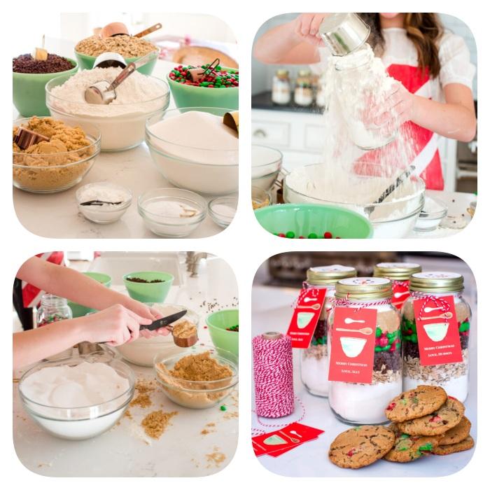 Schritt für Schritt Weihnachtsgeschenke selber machen, Mischung für Weihnachtskekse in Einmachglas füllen