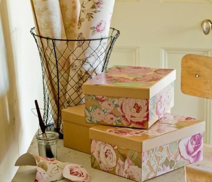 diy geschenke, fangen sie mit der box an, diy geschenkkasten selber basteln, blumen, florale motive