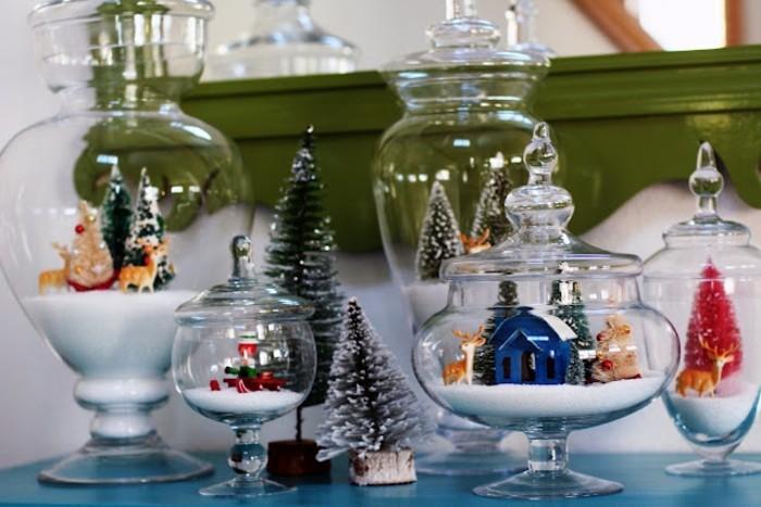 diy geschenke, die schön aussehen und kreativ sind, glasschüssel oder vasen mit stiropor füllen und als weihnachtsdeko gestalten