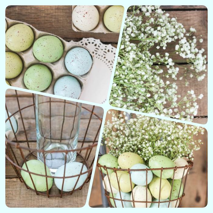 Osterdeko selber machen in vier einfachen Schritten, Glas voll mit Wasser in Korb stecken, Korb mit Ostereiern und Blumen füllen