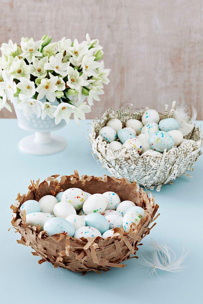 Osternest selber machen aus kleinen Stücken Papier, Bastelidee zu Ostern zum Nachmachen