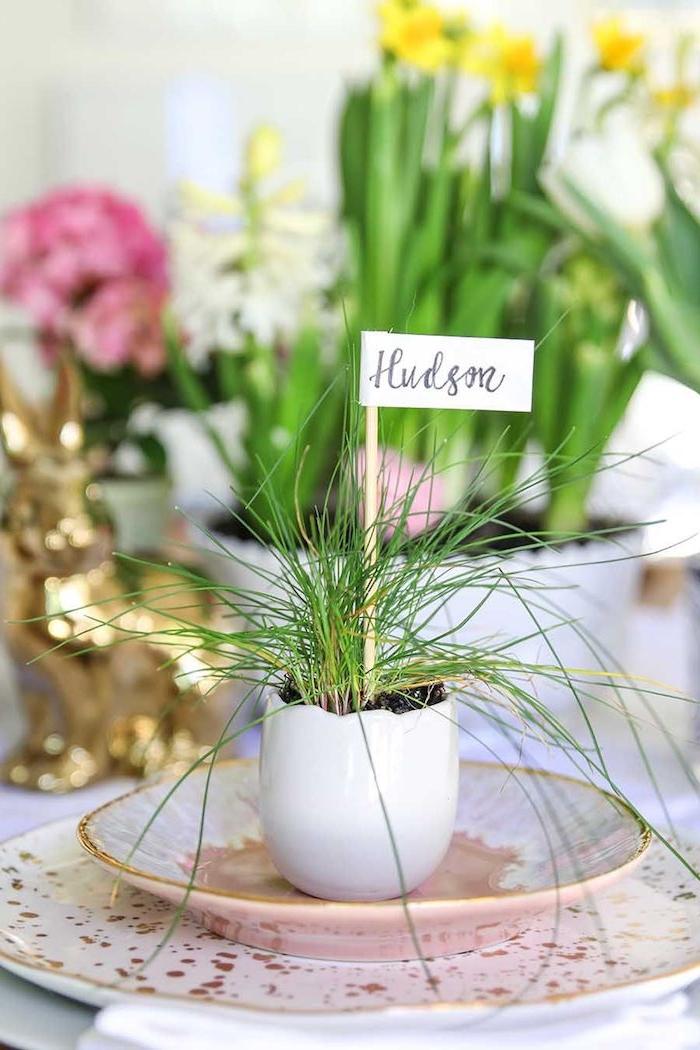 Tischdeko zu Ostern, kleiner Blumentopf in Form von Ei, Gras und Zettel mit einem Namen an Holzstäbchen