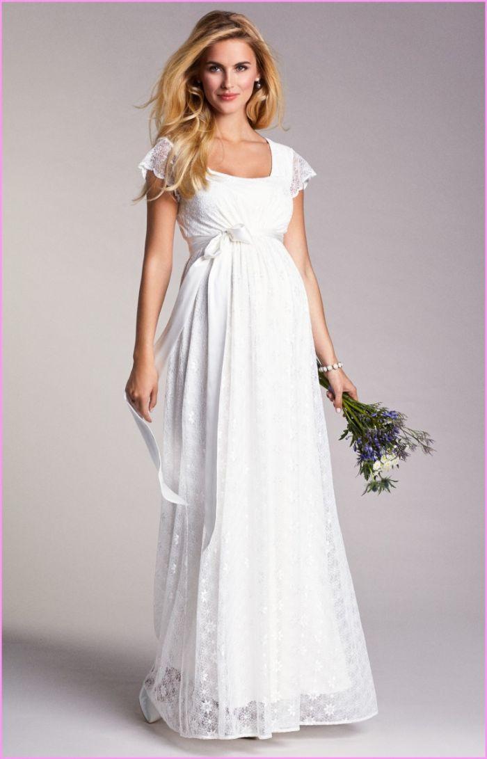 günstige brautkleider für schwangere, ideen zum stilvollen outfit für braut, langes weißes kleid