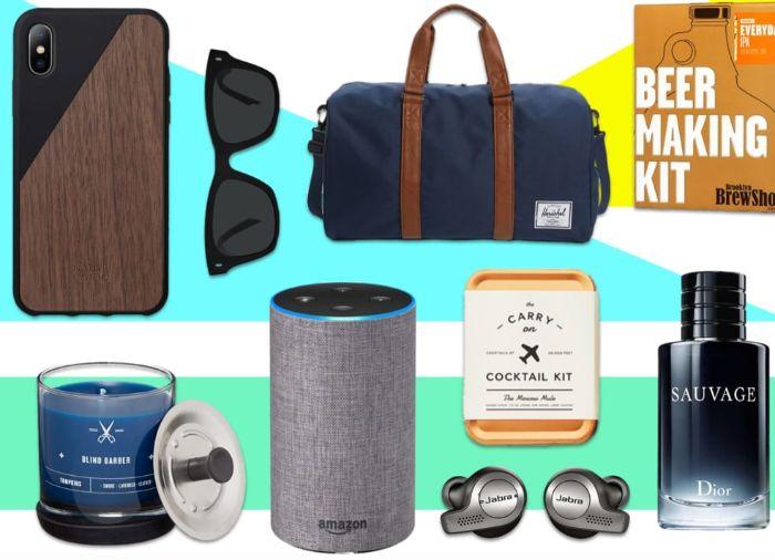 kreatives geschenk für freund, geschenkideen viele mögliche geschenke auf einem bild, brille, sporttasche