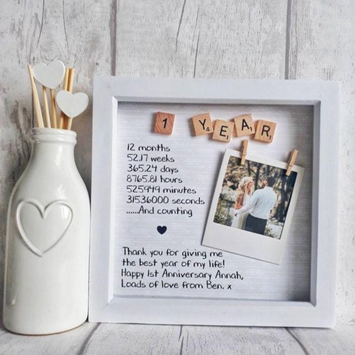geburtstagsgeschenke für männer, bilderrahmen mit foto, aufschrift poesie, flasche