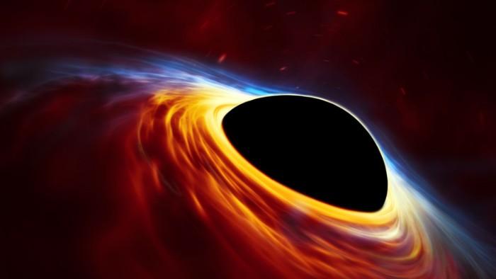 bild eines schwarzen lochs und ein kreis mit orangem licht, schwarzes licht mit dem event horizon