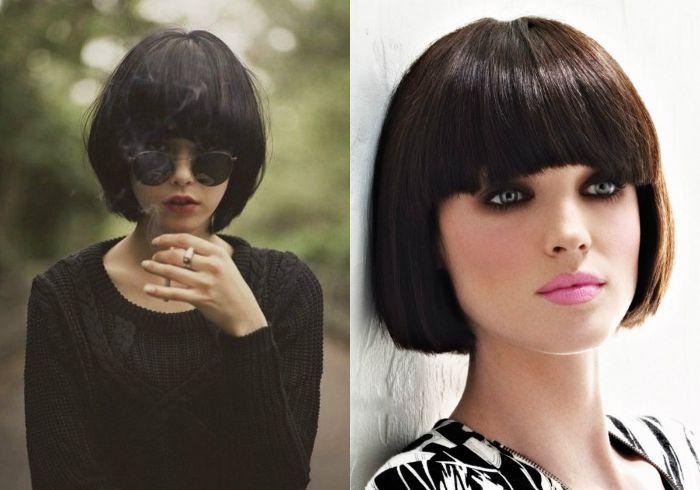 bob frisuren kurz, zwei fotos collage aus zwei fotos, sonnenbrille, rosa lippen