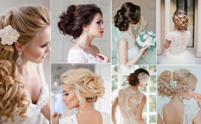 hochzeitsfrisuren offen, collage mit sieben schönen haarfrisuren, haarstile zum entlehnen