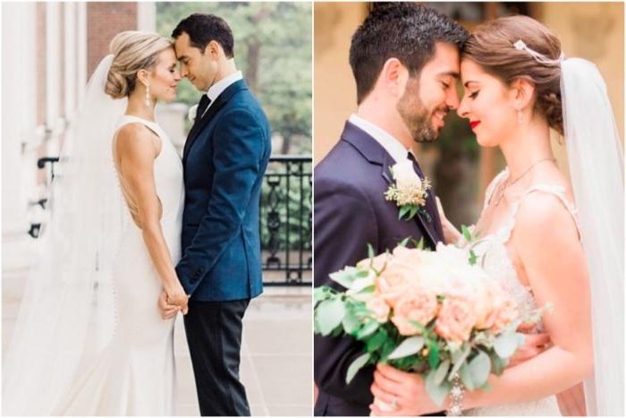 frisuren hochzeit, zwei ehepaare, braut und bräutigam am großen tag, collage aus zwei bildern