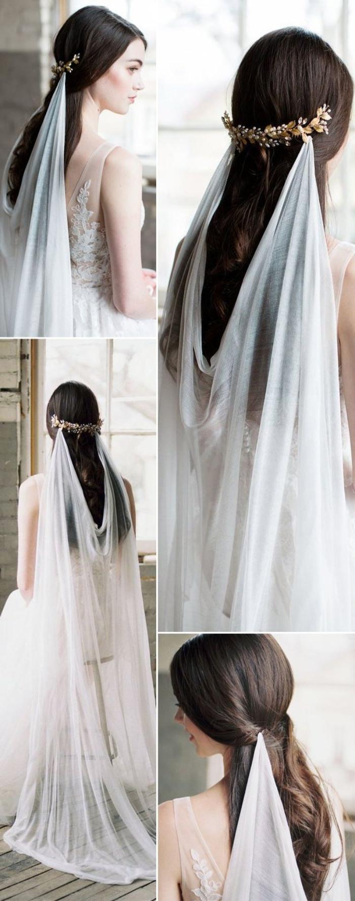 frisuren hochzeit, simpler griechischer style ohne viele details, weißes kleid, schwarze haare