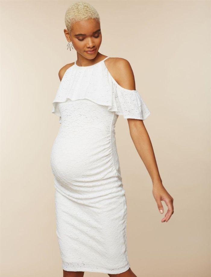 brautkleid schwanger standesamt, einfaches kleid outfit idee schwangere braut
