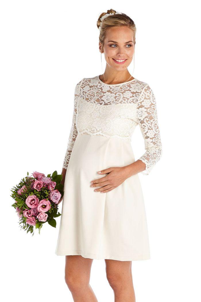 umstands hochzeitskleid, schöne braut, elegant in dem brautkleid für schwangere, kein decolette, spitze elemente