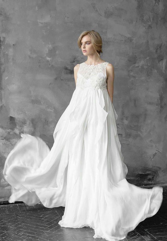 brautklieder für schwangere günstig ideen zum entlehnen, eine braut in langem weißen kleid, breites kleid,, kreatives modell