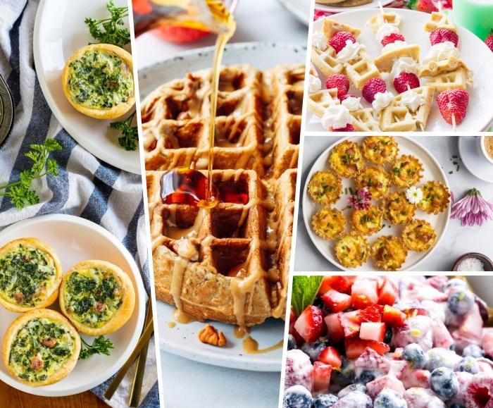 brunch rezepte zum vorbereiten, waffeln mit honig, obstsalat mit erdbeeren, blaubeeren, himbeeren und joghurt