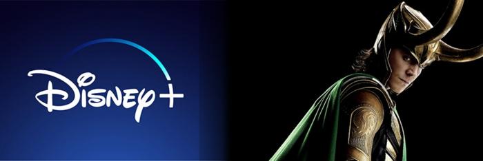 ein Foto von Loki mit seinem Helm, das Logo von Disney+, die neue Hitserie auf der Plattform