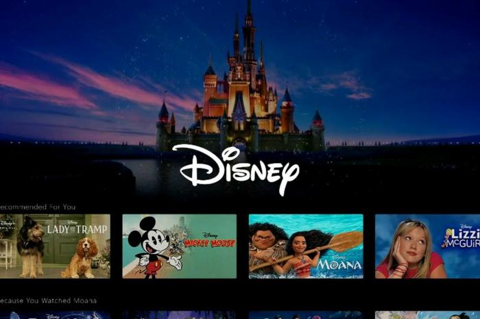 Disney mit dem Schloss und unten die Filme, die von Disney+ gezeigt werden