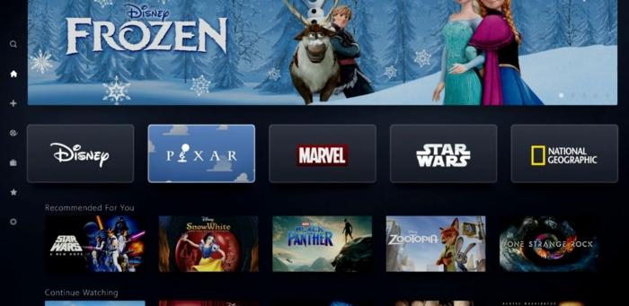 die Aussicht von der neuen Plattform, Disney+, ein Wallpaper mit der Eiskönigin und andere Filmen
