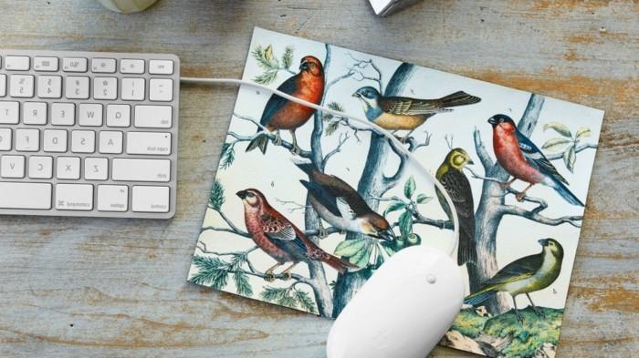 süße geschenke für freundin, mousepad selber basteln, vögeln, deko ideen, tastatur, computer