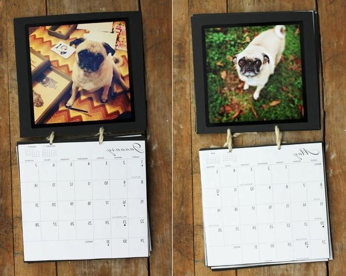 geburtstagsgeschenk ideen, kalendar selber basteln, kalendare mit mops, pug foto als theme eines kalendars