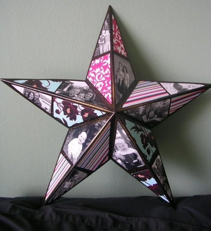 stern selber basteln aus papier, geburtstagsgeschenk ideen, sterne basteln mit buntem papier und fotos, bilderrahmen kreativ