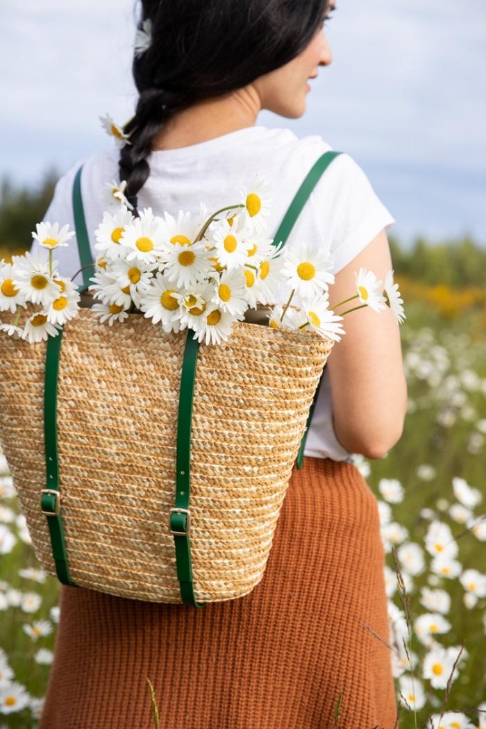 diy geschenke zum muttertag, selsbtgemachter rucksack aus geflochtener tasche, gänseblümchen