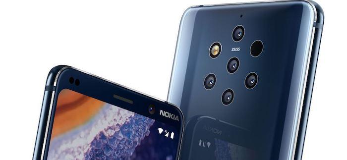 zwei dunkelblaues smartphones nokia, ein handy mit fünf kleinen zeiss-kameras