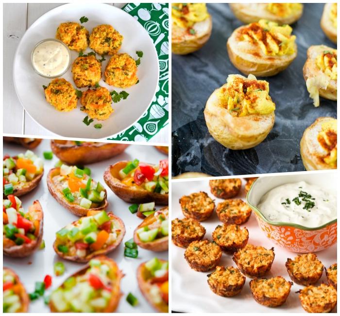 fingerfood schnell und einfach und günstig, häppchen mit kartoffeln mit topping aus gemüse, deviled kartoffeln