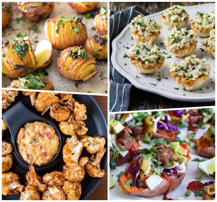 fingerfood schnell und günstig, mini kartoffel mit gewürz und kräutern, tartaletas mit veganem käse