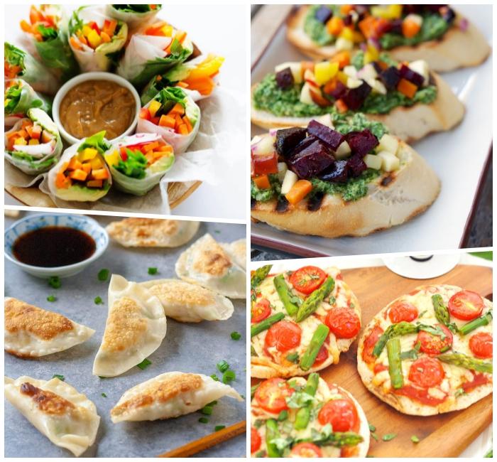 fingerfood schnell und günstig, tacos mit gemüse, mini pizzas mit tomaten, spargeln und vegan käse