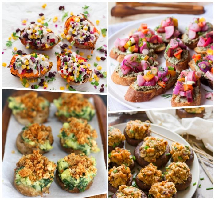 fingerfood schell und günstig, pilzen mit füllung aus gemüse, süße kartoffel mit gemüse, party snacks