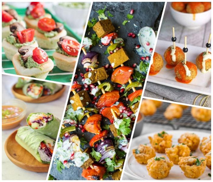 spieße mit gemüse, tartaletas mit avocado, pilzen und cherry tomaten, fingerfood schnell und günstig, gesunde rezepte