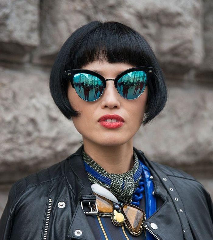 pagenschnitt in asiatischem stil, kreativer look, eine frau der künste, künstlerin, mode influencerin
