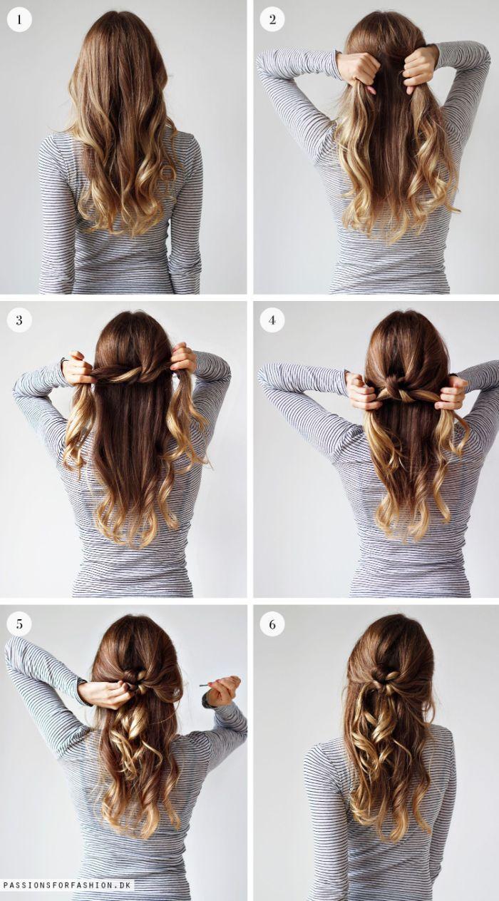 hochsteckfrisuren einfach und schnell, haare selber stylen, sechs fotos zeigen wie eine frau selber die frisur macht