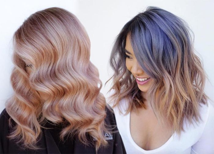 schulterlange haare frisuren, zwei mögliche gestaltungen ideen mit wellen in den haaren