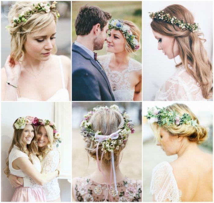 brautfrisuren lange haare, collage mit sechs schöne brautstil ideen blonde braut
