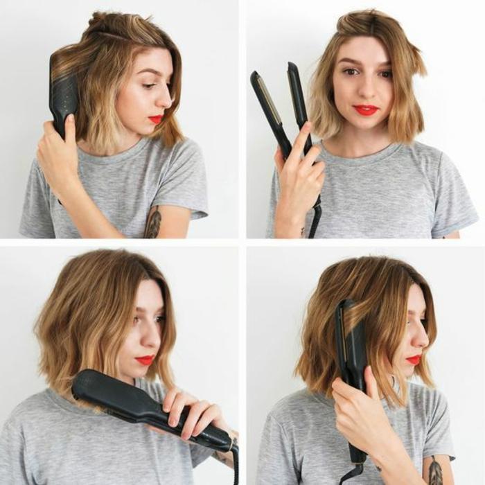 bob frisuren selber stylen, kurzes haar mit dem glätteisen formen, ombre blond