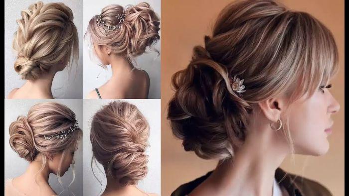 schulterlange haare frisuren, collage mit vielen schönen bildern und ideen zum haarstyle hochgesteckt