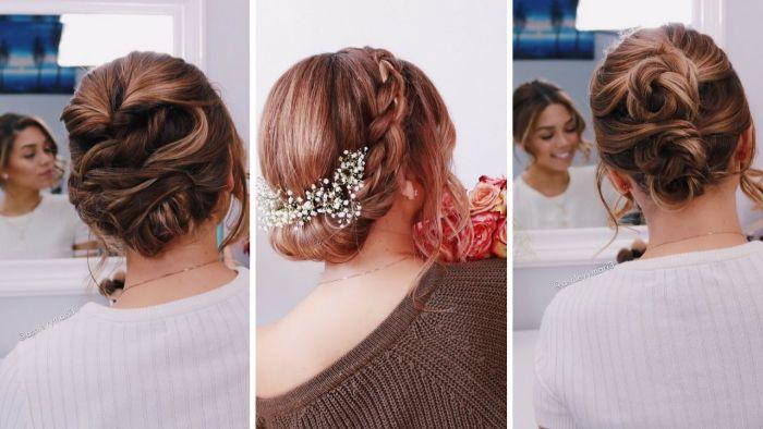 trendfrisuren 2019 frauen, collage aus drei bildern mit schönen frisuren hochgesteckt, rosarote haare in der mitte