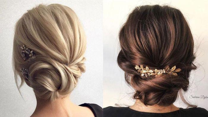 trendfrisuren 2019 frauen, zwei frauen mit blonden und mit braunen haaren, niedrige bun hochsteckhaarstyle mit haardeko