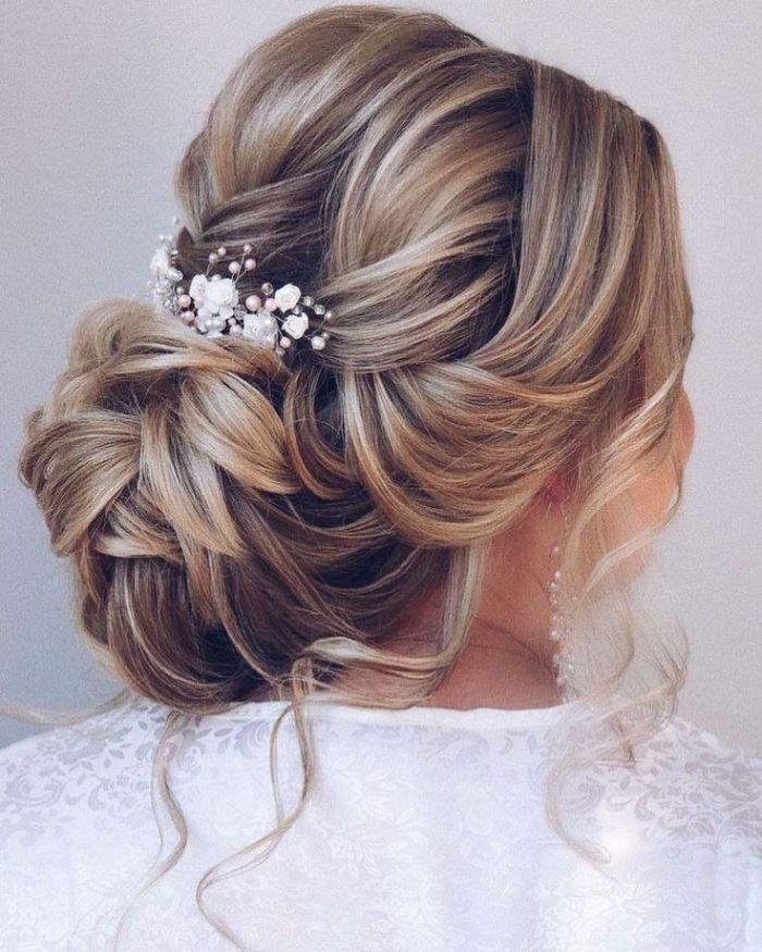 schulterlange haare frisuren, hochsteck haarstyle elegant brautfrisuren zum entlehnen haarschmuck