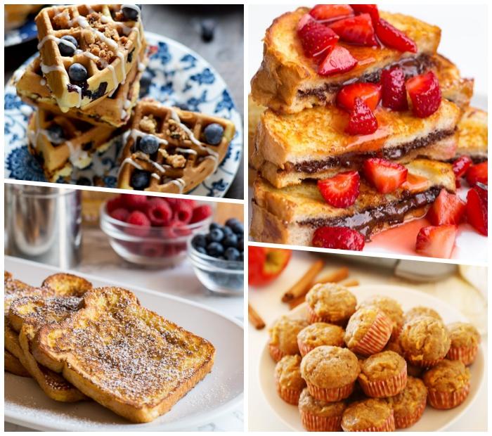 muffins mit zimt und kürbis, frühstück für gäste, waffeln mit blaubeeren, french toasts mit schokolade