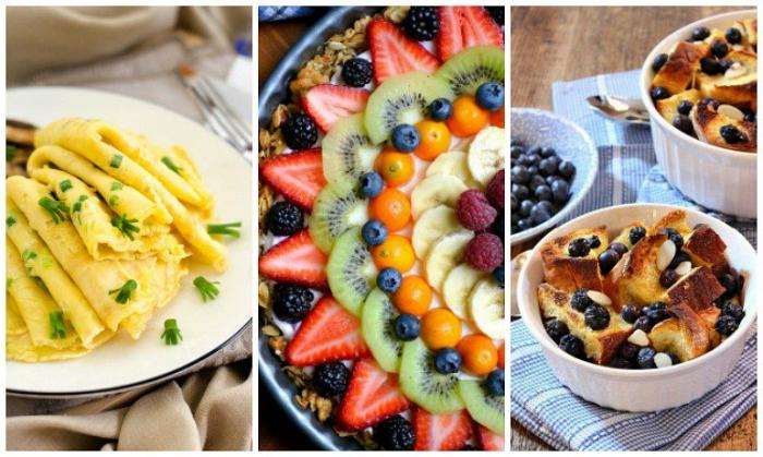 frühstück für gäste, einfache und schnelle rezepte, omelette aus eiern, obst salat, french toast mit früchten