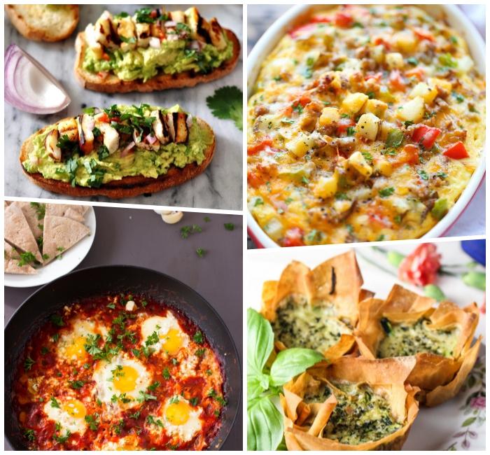 frühstücksbuffet ideen, brotscheiben mit avocado und eiern, kasserolle mit karstoffeln und käse, muffins mit spinat