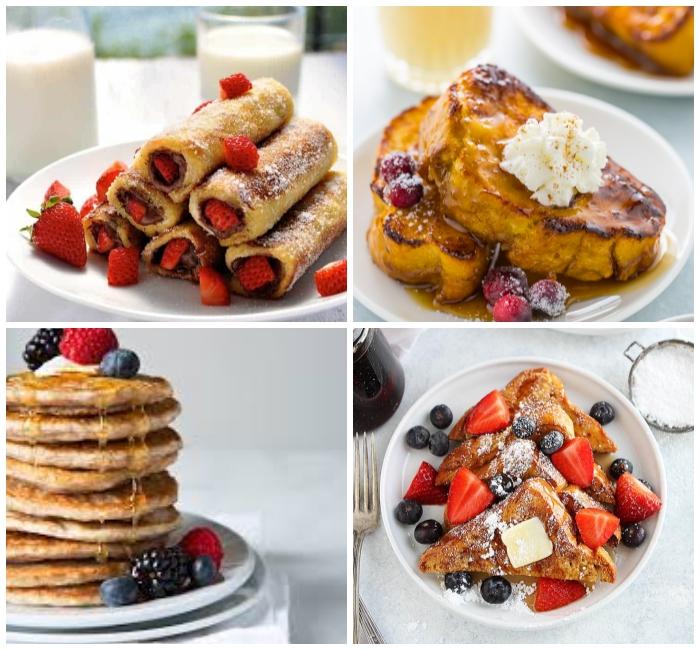 frühstücksbuffet ideen, gebratene brotscheiben mit butter und früchten, french toast rollen mit schokoalde und erdbeeren