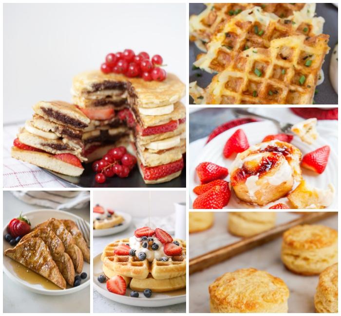 pfannkuchen torte mit frischkäse, erdbeerne und kirschen, frühstücksbuffet ideen, waffeln mit früchten, french toast