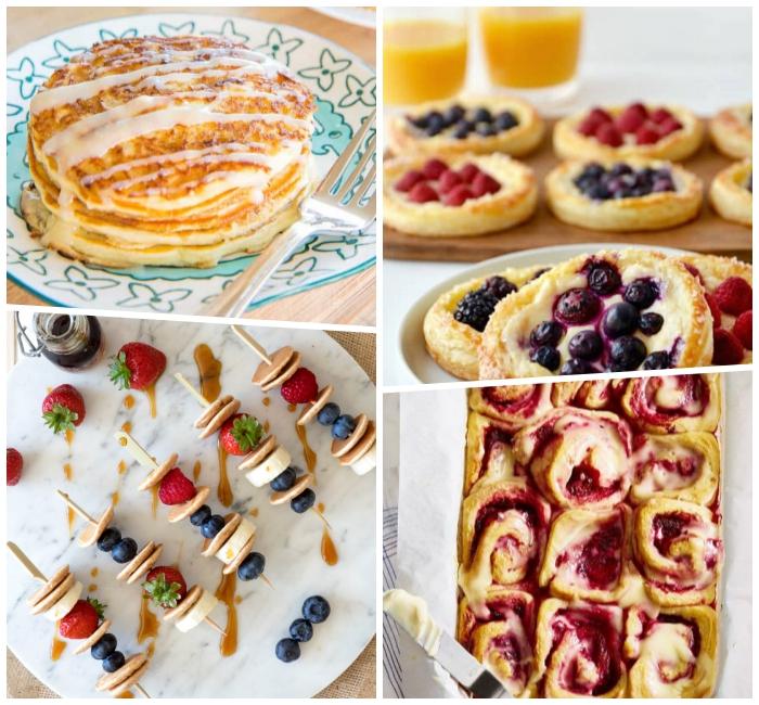 spießen mit mini pfnannkuchen und früchten, frühstücksbuffet ideen, rollen mit kirschenmarmelade