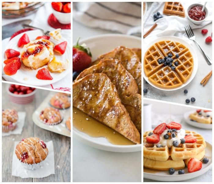 frühstücksbuffet ideen, waffeln mit blaubeeren, muffins mit himbeeren, rolen mit zimt